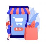 Digital supermarket abstract concept vector illustration. Digital purchase, information technology, online payment, grocery store, mobile retail application, shopping discount abstract metaphor.